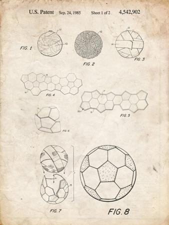 PP54-Vintage Parchment Soccer Ball 1985 Patent Poster by Cole Borders