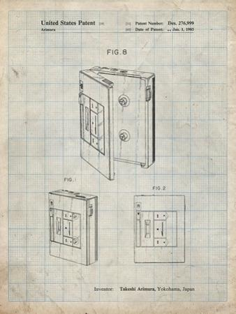 PP551-Antique Grid Parchment Toshiba Walkman Patent Poster by Cole Borders