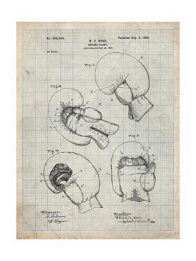 PP58-Antique Grid parchment Vintage Boxing Glove 1898 Patent Poster by Cole Borders