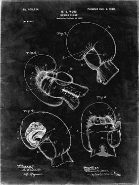 PP58-Black Grunge Vintage Boxing Glove 1898 Patent Poster by Cole Borders