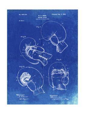 PP58-Faded Blueprint Vintage Boxing Glove 1898 Patent Poster by Cole Borders