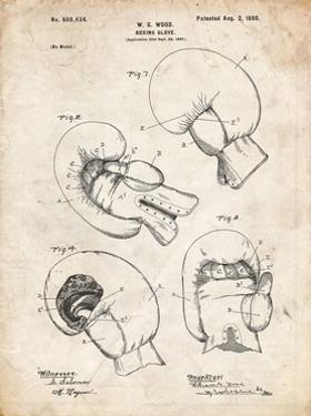 PP58-Vintage Parchment Vintage Boxing Glove 1898 Patent Poster by Cole Borders