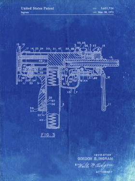PP584-Faded Blueprint Mac-10 Uzi Patent Poster by Cole Borders