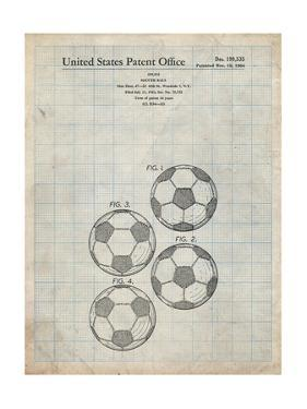 PP587-Antique Grid Parchment Soccer Ball 4 Image Patent Poster by Cole Borders