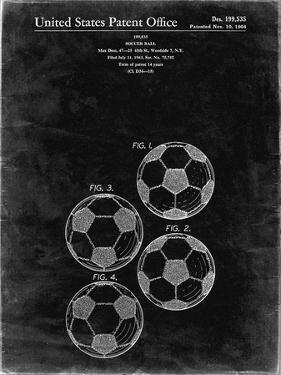 PP587-Black Grunge Soccer Ball 4 Image Patent Poster by Cole Borders