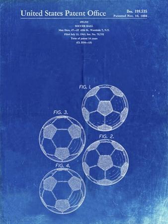 PP587-Faded Blueprint Soccer Ball 4 Image Patent Poster by Cole Borders