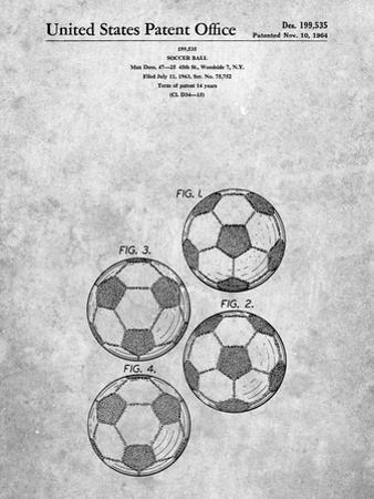 PP587-Slate Soccer Ball 4 Image Patent Poster by Cole Borders