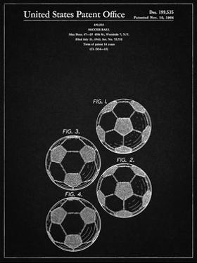 PP587-Vintage Black Soccer Ball 4 Image Patent Poster by Cole Borders