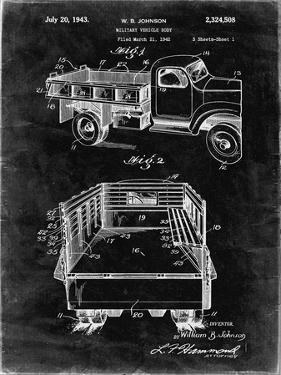 PP59-Black Grunge Army Troops Transport Truck Patent Poster by Cole Borders