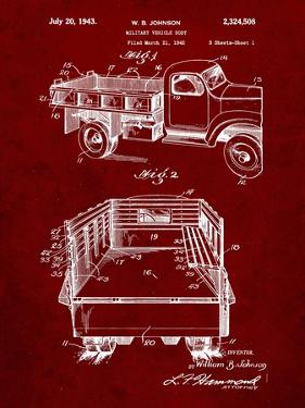 PP59-Burgundy Army Troops Transport Truck Patent Poster by Cole Borders