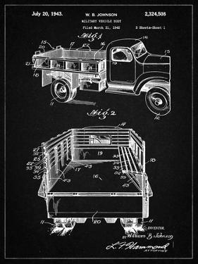PP59-Vintage Black Army Troops Transport Truck Patent Poster by Cole Borders