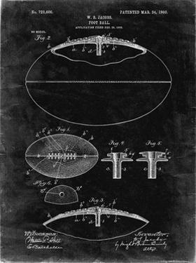 PP601-Black Grunge Football Game Ball 1902 Patent Poster by Cole Borders