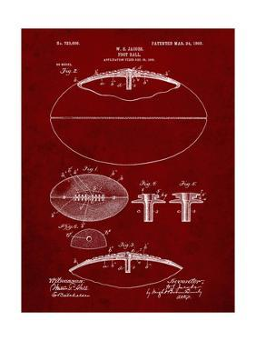 PP601-Burgundy Football Game Ball 1902 Patent Poster by Cole Borders