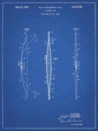 PP603-Blueprint Bill Folberth Archery Bow Patent Poster