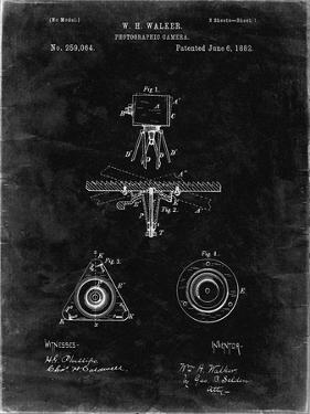 PP609-Black Grunge Antique Camera Tripod Head Improvement Patent Poster by Cole Borders