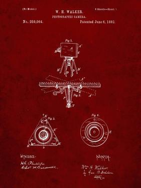 PP609-Burgundy Antique Camera Tripod Head Improvement Patent Poster by Cole Borders