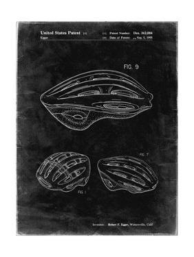 PP610-Black Grunge Bicycle Helmet Patent Poster by Cole Borders