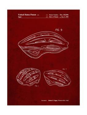 PP610-Burgundy Bicycle Helmet Patent Poster by Cole Borders