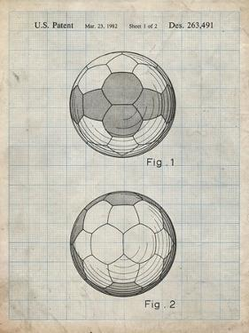 PP62-Antique Grid Parchment Leather Soccer Ball Patent Poster by Cole Borders