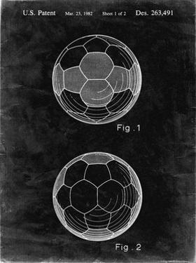 PP62-Black Grunge Leather Soccer Ball Patent Poster by Cole Borders