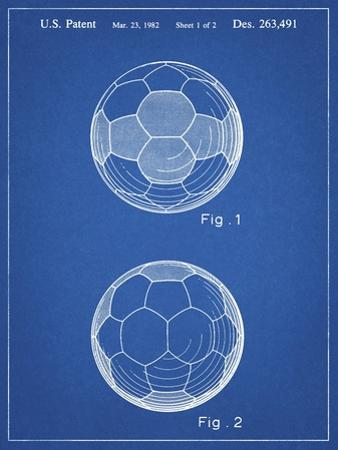 PP62-Blueprint Leather Soccer Ball Patent Poster by Cole Borders