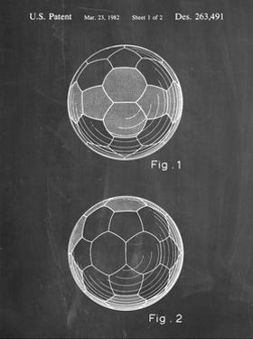 PP62-Chalkboard Leather Soccer Ball Patent Poster by Cole Borders