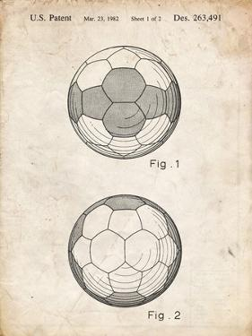 PP62-Vintage Parchment Leather Soccer Ball Patent Poster by Cole Borders