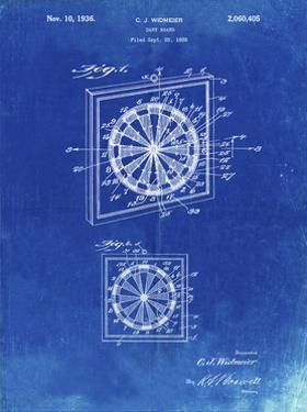 PP625-Faded Blueprint Dart Board 1936 Patent Poster by Cole Borders