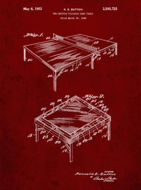 PP629-Burgundy Ping Pong Table Patent Poster by Cole Borders