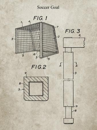 PP63-Sandstone Soccer Goal Patent Poster by Cole Borders