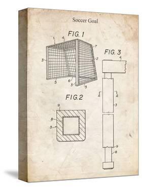 PP63-Vintage Parchment Soccer Goal Patent Poster by Cole Borders