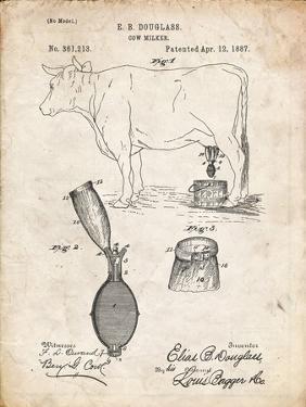 PP639-Vintage Parchment Cow Milker 1887 Patent Poster by Cole Borders