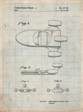 PP650-Antique Grid Parchment Star Wars X-34 Landspeeder Patent Poster by Cole Borders