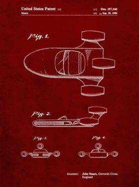 PP650-Burgundy Star Wars X-34 Landspeeder Patent Poster by Cole Borders