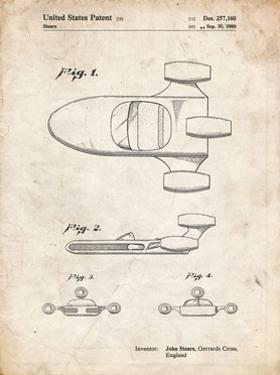 PP650-Vintage Parchment Star Wars X-34 Landspeeder Patent Poster by Cole Borders