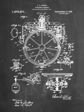 PP67-Chalkboard Gyrocompass Patent Poster by Cole Borders