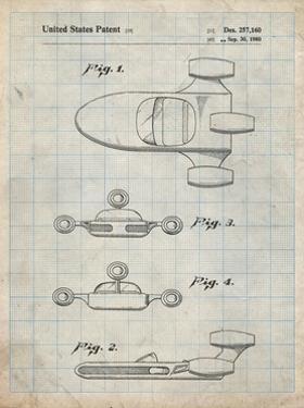 PP673-Antique Grid Parchment Star Wars Landspeeder Patent Poster by Cole Borders