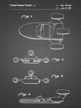 PP673-Black Grid Star Wars Landspeeder Patent Poster by Cole Borders