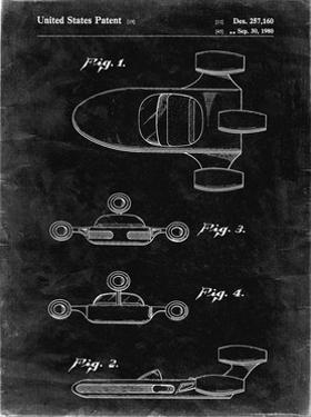 PP673-Black Grunge Star Wars Landspeeder Patent Poster by Cole Borders