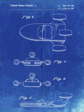 PP673-Faded Blueprint Star Wars Landspeeder Patent Poster by Cole Borders