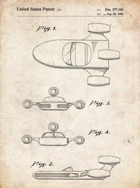 PP673-Vintage Parchment Star Wars Landspeeder Patent Poster by Cole Borders