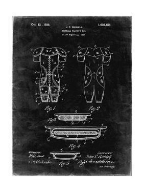 PP690-Black Grunge Ridell Football Pads 1926 Patent Poster by Cole Borders