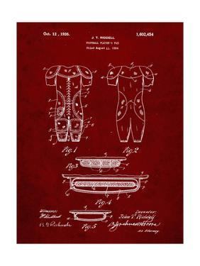PP690-Burgundy Ridell Football Pads 1926 Patent Poster by Cole Borders