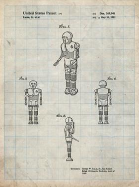 PP691-Antique Grid Parchment Star Wars Medical Droid Patent Poster by Cole Borders