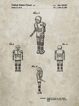 PP691-Sandstone Star Wars Medical Droid Patent Poster by Cole Borders