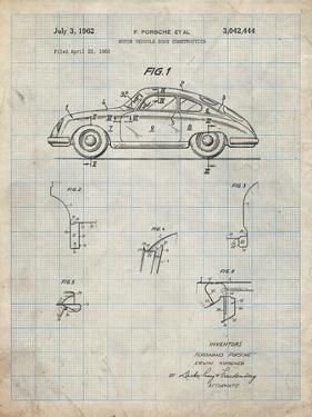 PP698-Antique Grid Parchment 1960 Porsche 365 Patent Poster by Cole Borders