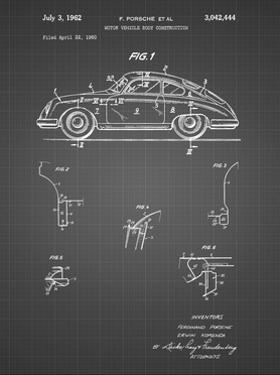 PP698-Black Grid 1960 Porsche 365 Patent Poster by Cole Borders