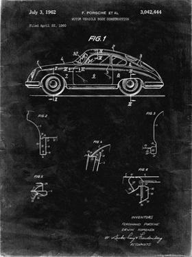 PP698-Black Grunge 1960 Porsche 365 Patent Poster by Cole Borders