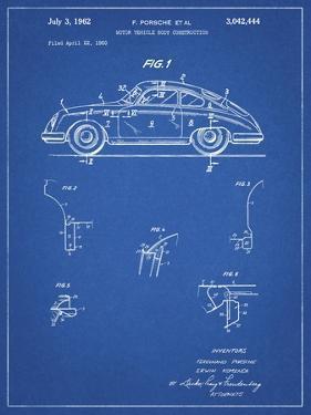 PP698-Blueprint 1960 Porsche 365 Patent Poster by Cole Borders