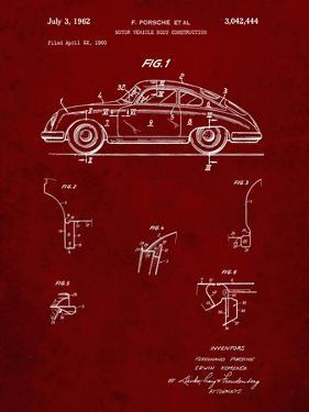 PP698-Burgundy 1960 Porsche 365 Patent Poster by Cole Borders